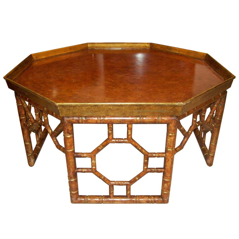 Octagonal faux painted coffee table at 1stdibs for Octagon coffee table