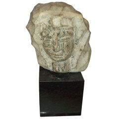 Modernist Marble Sculpture on Granite Base