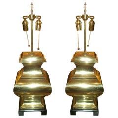 Pair If Sculptural Asian Inspired Brass Lamps