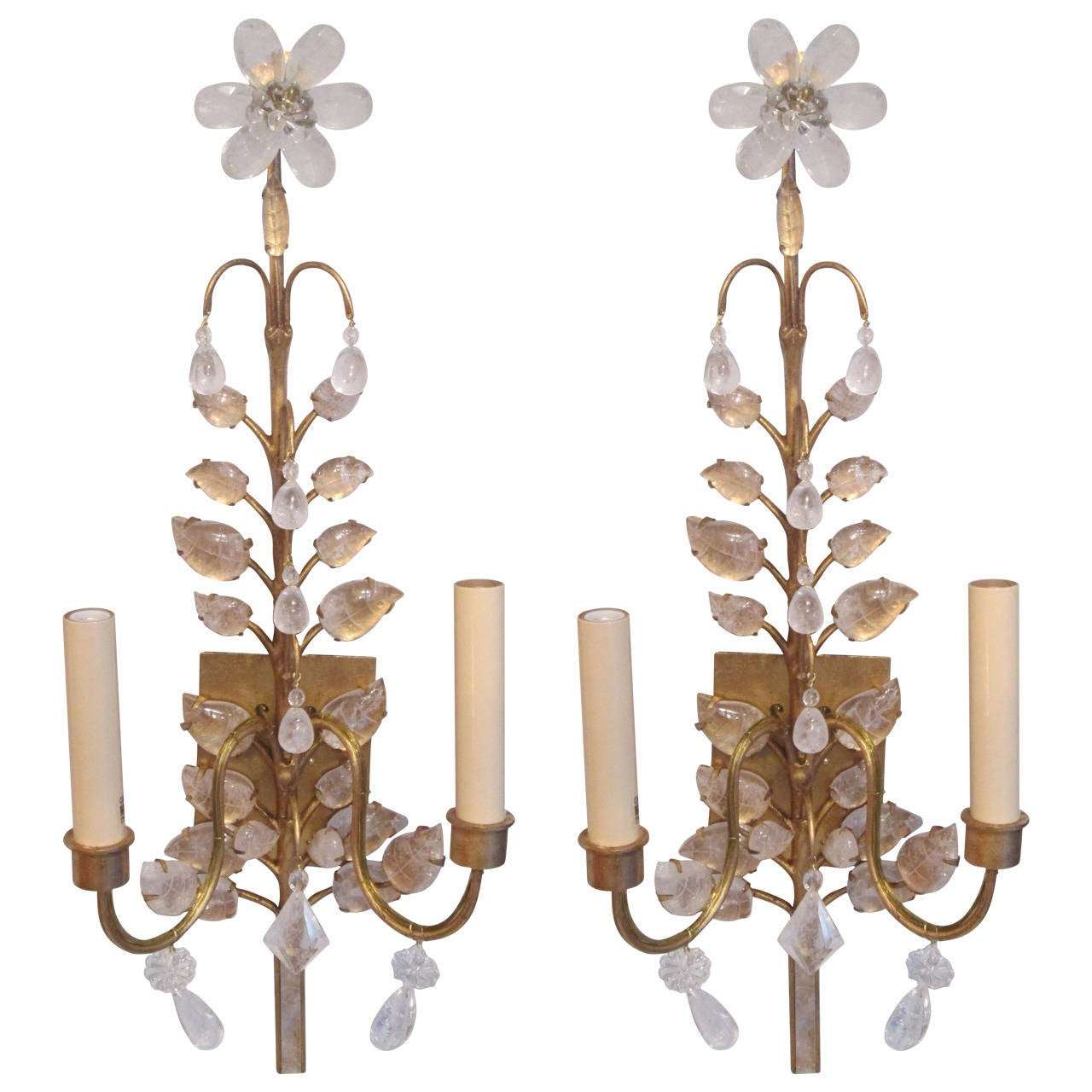 Pair of Rock Crystal Gilt Sconces in the Baguès Manner