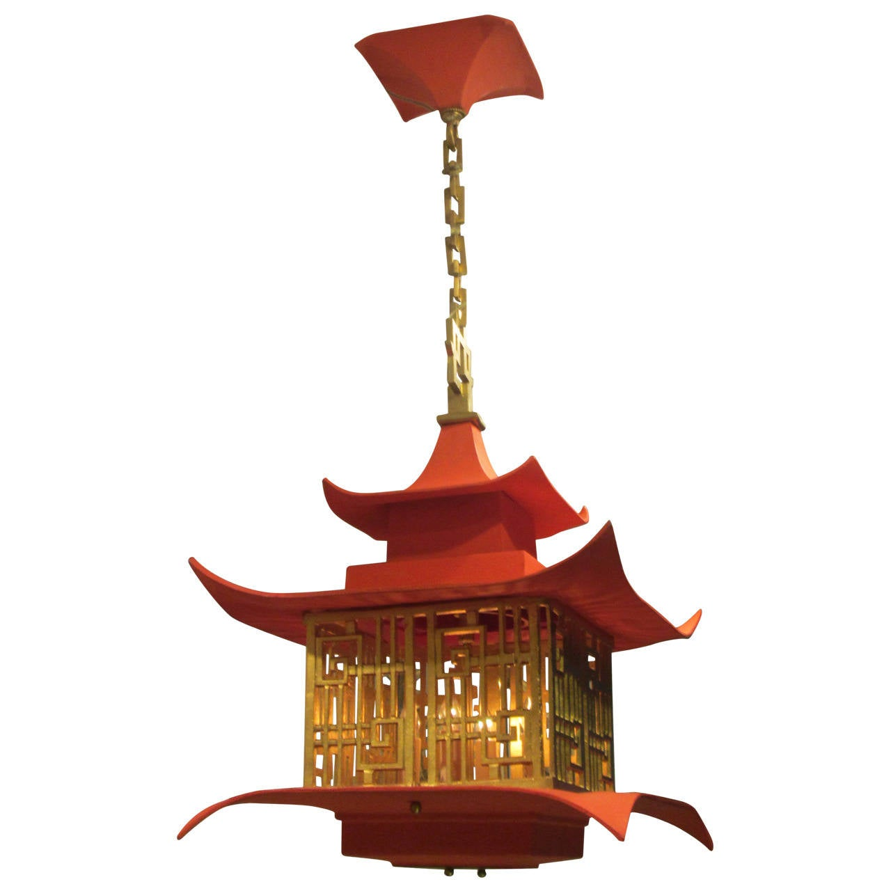 Whimsical gilt iron and painted pagoda chandelier at 1stdibs