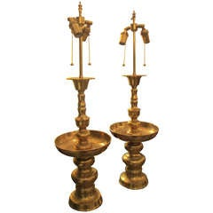 A Pair Of Oversized Brass Pricket/candlestick Lamps