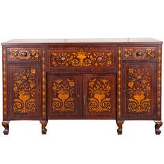 19th Century Dutch Mahogany Marquetry Cabinet or Buffet with Front Fall Desk