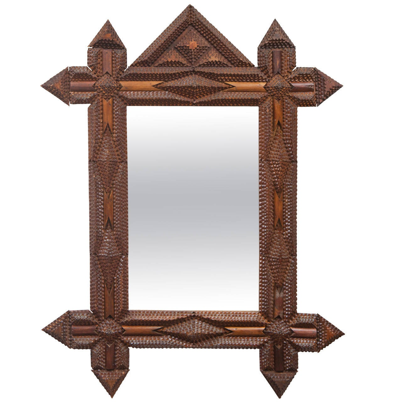 Tramp Art Mirror With Original Glass For Sale At 1stdibs
