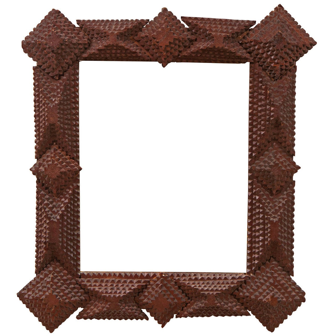 Tramp Art Frame with Mirror at 1stdibs