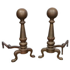 Large Brass Cannonball Andirons