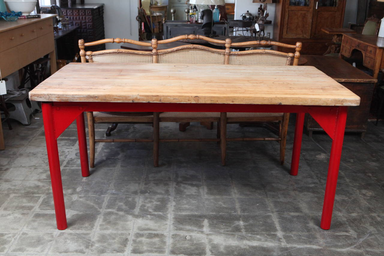 butcher block restaurant prep table with painted metal