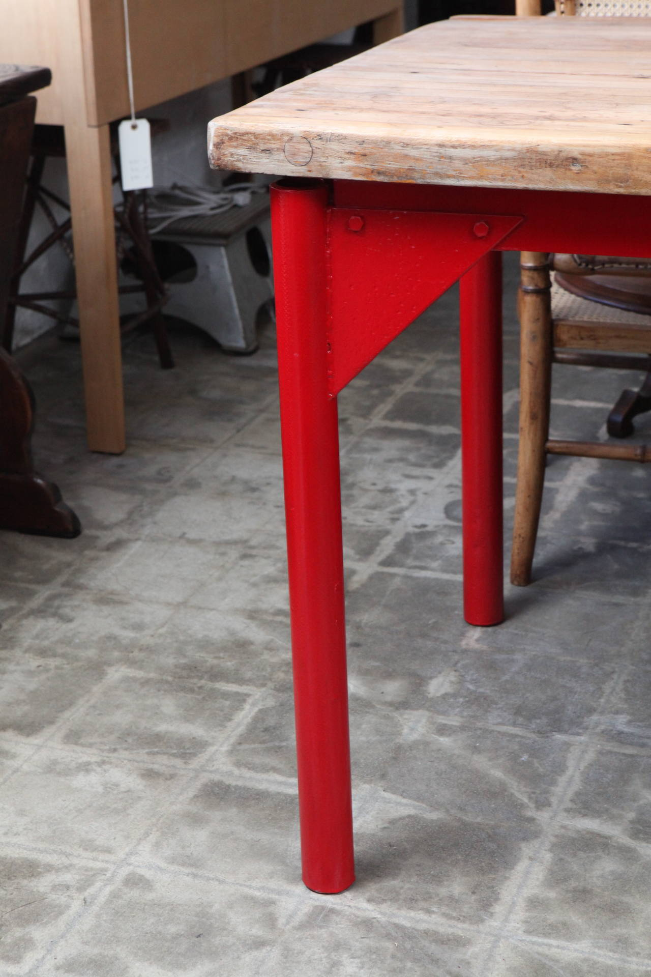 This Large Vintage Butcher Block Restaurant Prep Table Has Metal Legs And Supports Painted In A