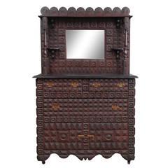 Early 20th Century Rare Exquisite Tramp Art Dresser