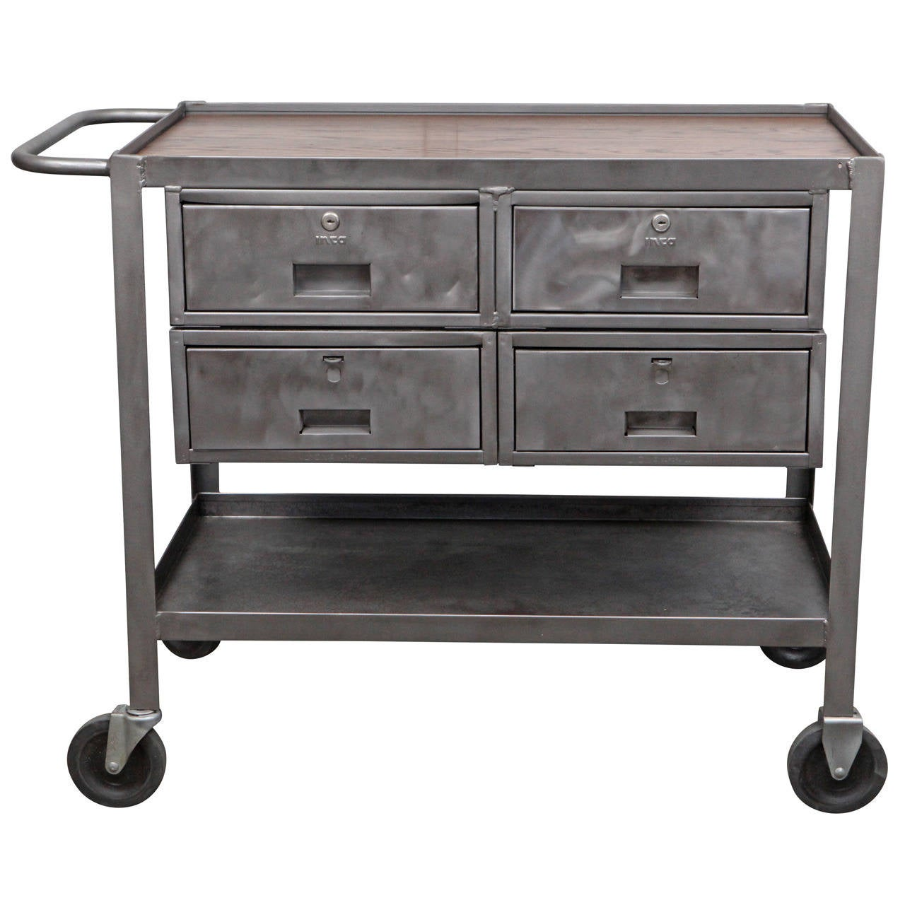 Industrial metal rolling cart with oak top at stdibs