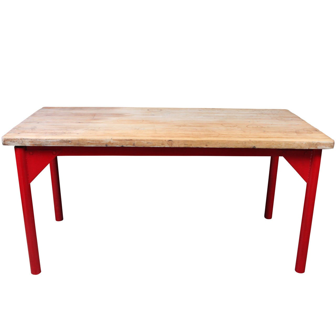 Butcher Block Restaurant Prep Table With Painted Metal Legs 1