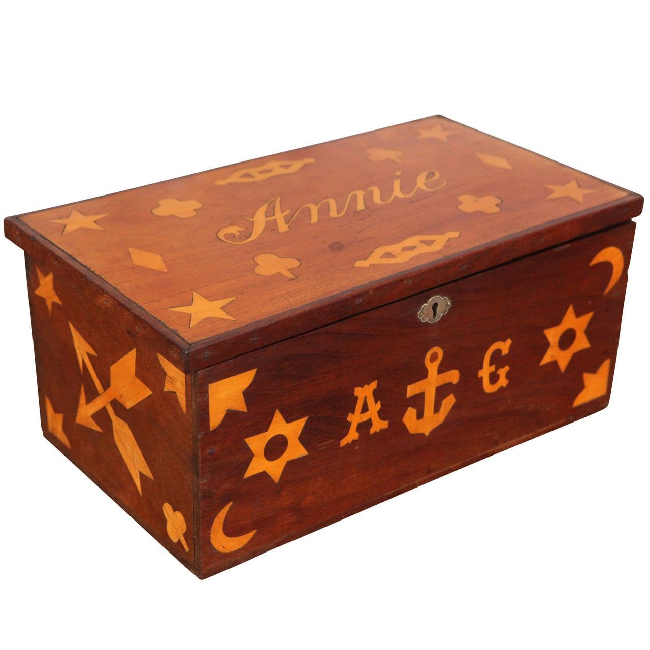 Antique Inlaid Sailor Box