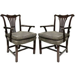 Pair Georigian Style Arm Chairs
