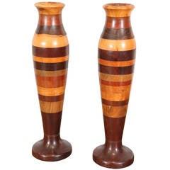 Pair of Wood Specimen Vases