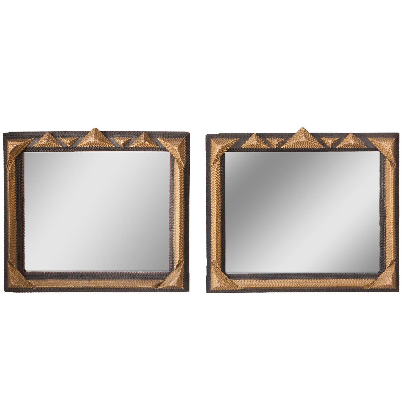Pair of Distinctive Tramp Art Framed Mirrors