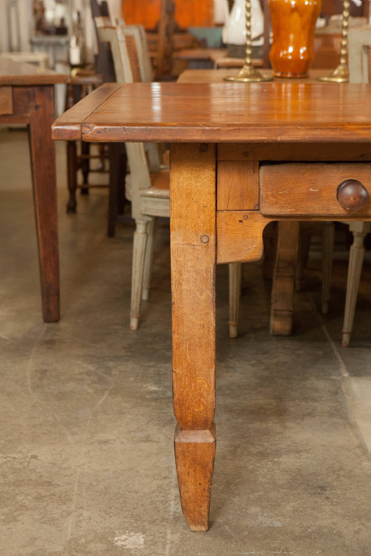 Long Country Dining Or Work Table For Sale At 1stdibs