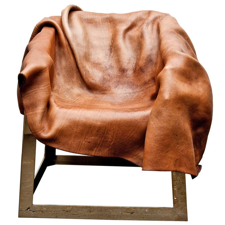 Simon Hassan Boiled Leather And Brass Chair At 1stdibs
