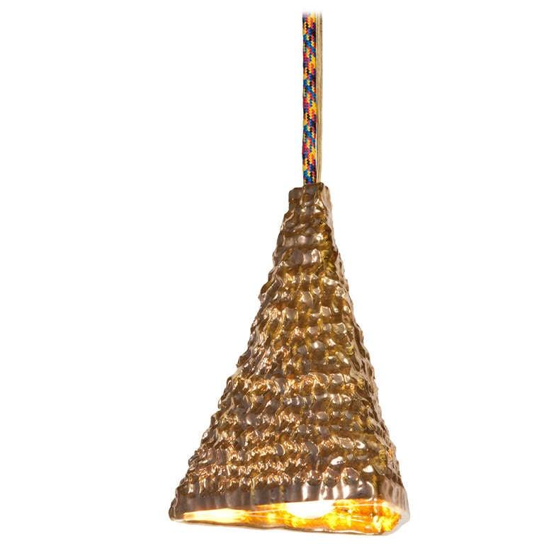Katie Stout X Sean Gerstley Gold Pyramid Pendant Lamp At