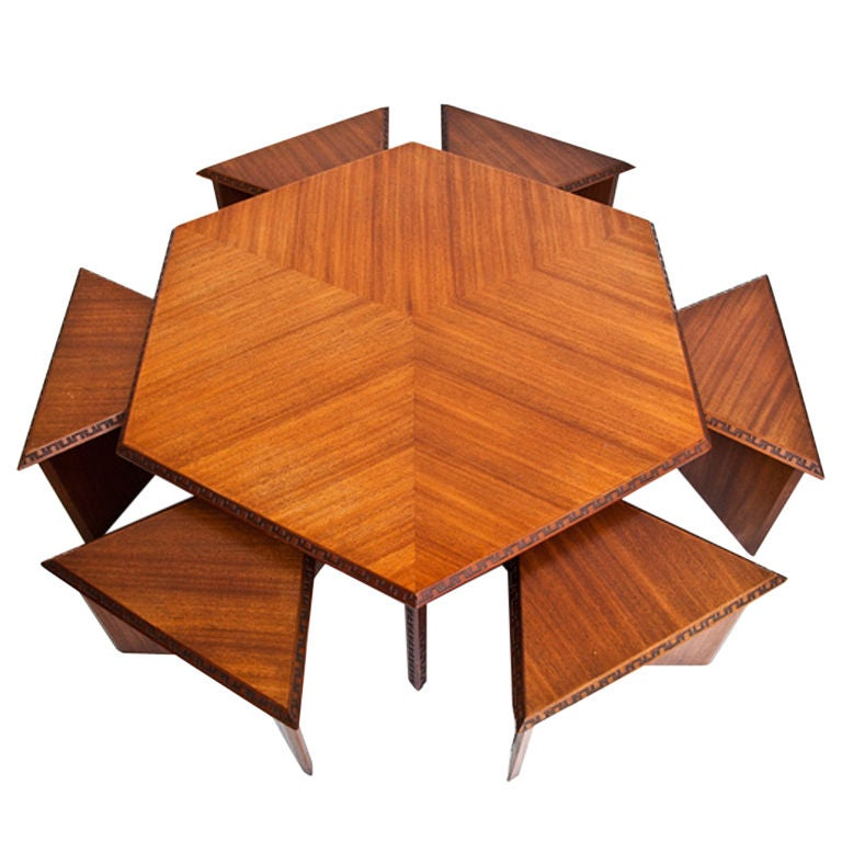 Hexagonal Table With Six Stools By Frank Lloyd Wright At