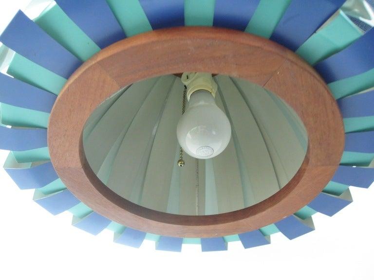 Vintage Teak and Metal Danish Modern Hanging Lamp image 3