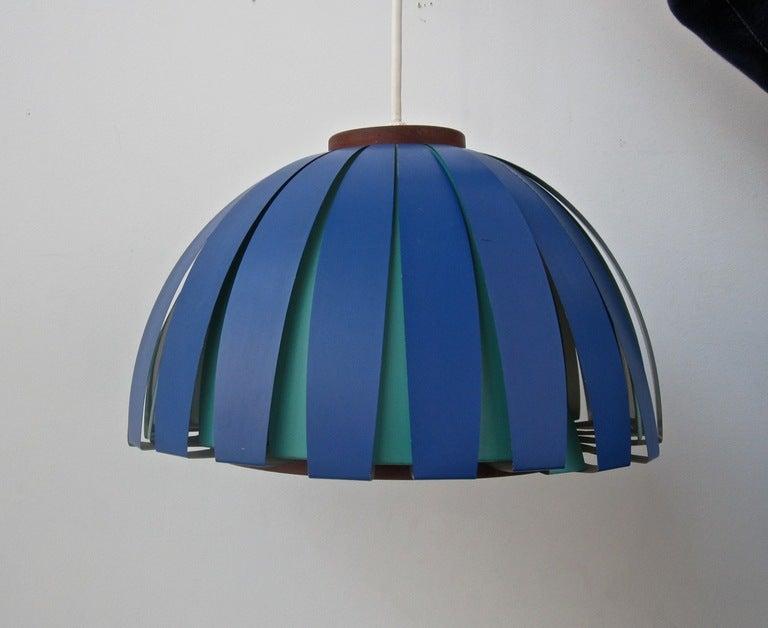 Vintage Teak and Metal Danish Modern Hanging Lamp image 2