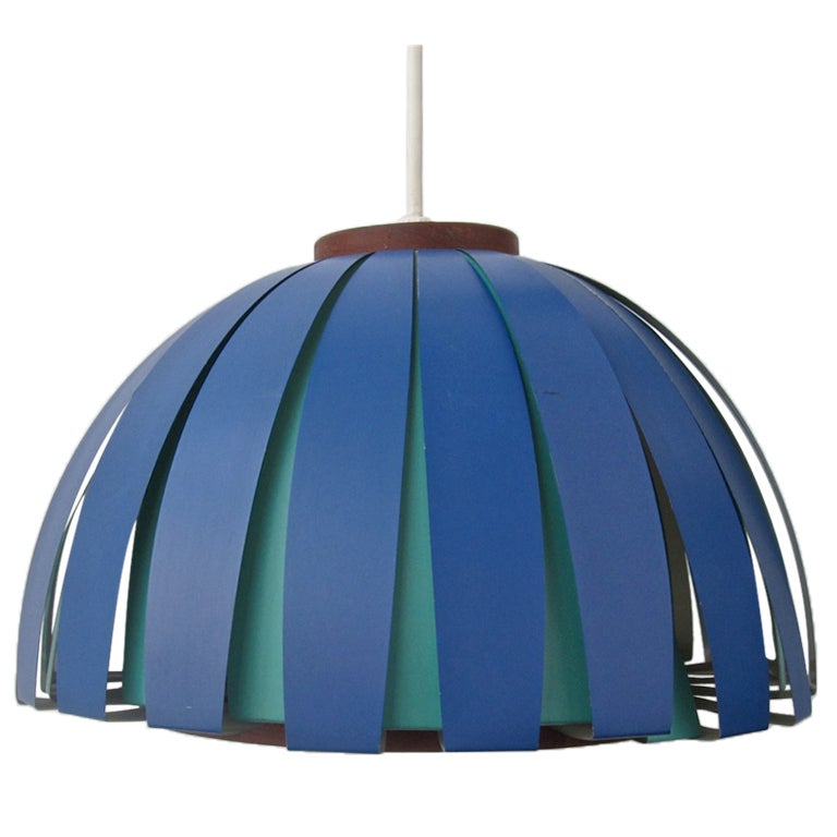 Vintage Teak and Metal Danish Modern Hanging Lamp at 1stdibs