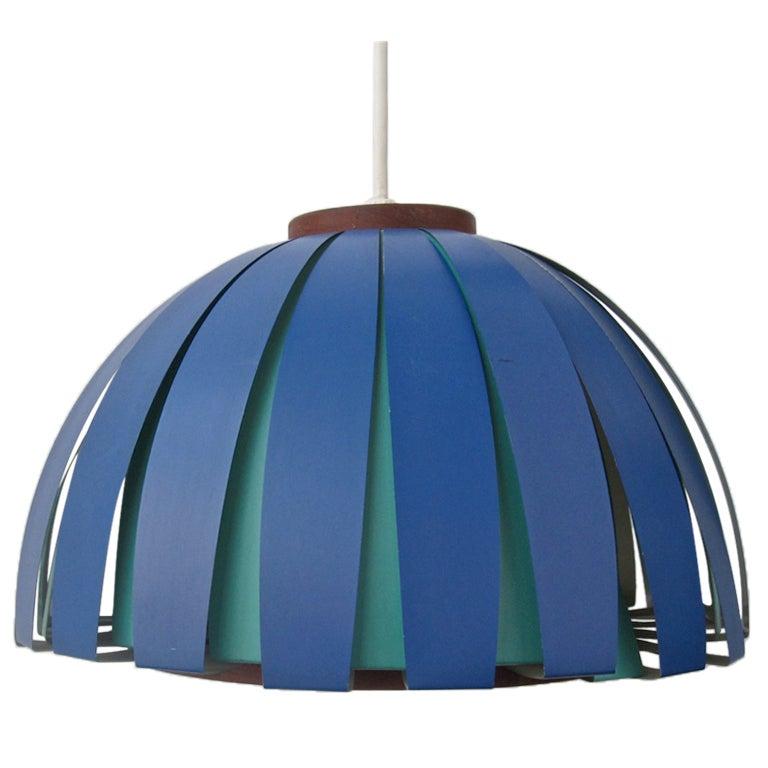 Vintage Teak and Metal Danish Modern Hanging Lamp