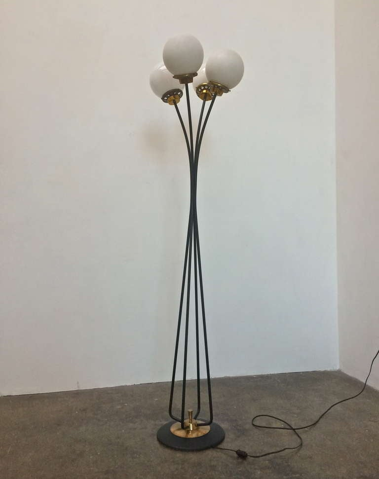 mid century floor lamp with brass details and glass globes at 1stdibs. Black Bedroom Furniture Sets. Home Design Ideas