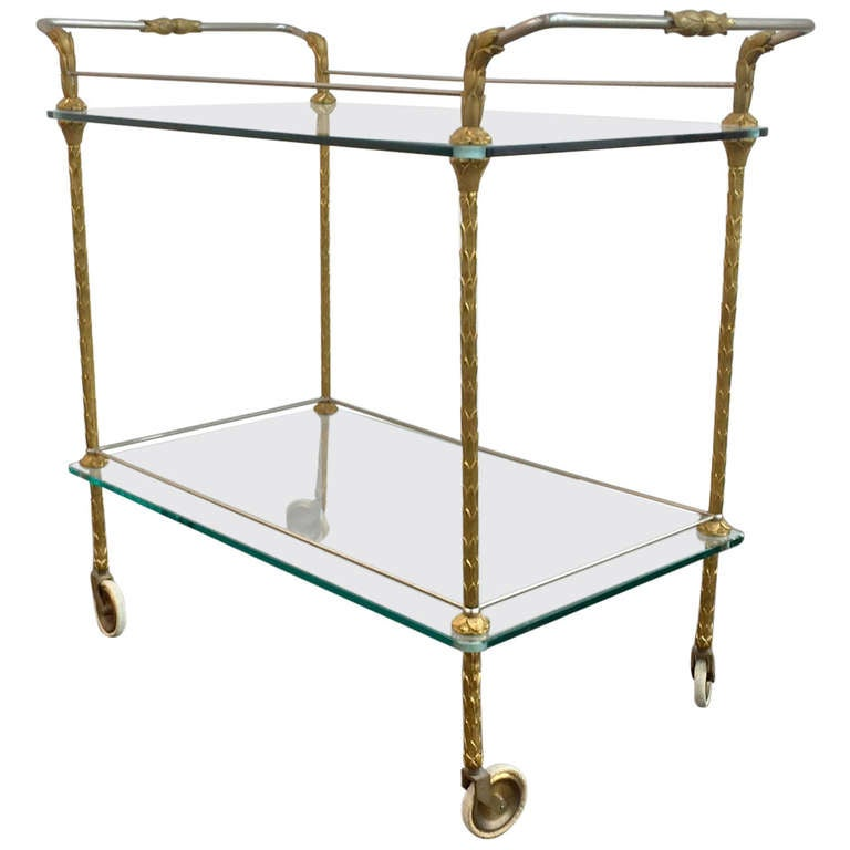 Bronze Serving Cart In The Style Of Maison Bagues At 1stdibs