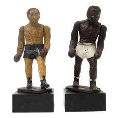 Pair of Primitive Early 20th Century Sculptures of Boxers