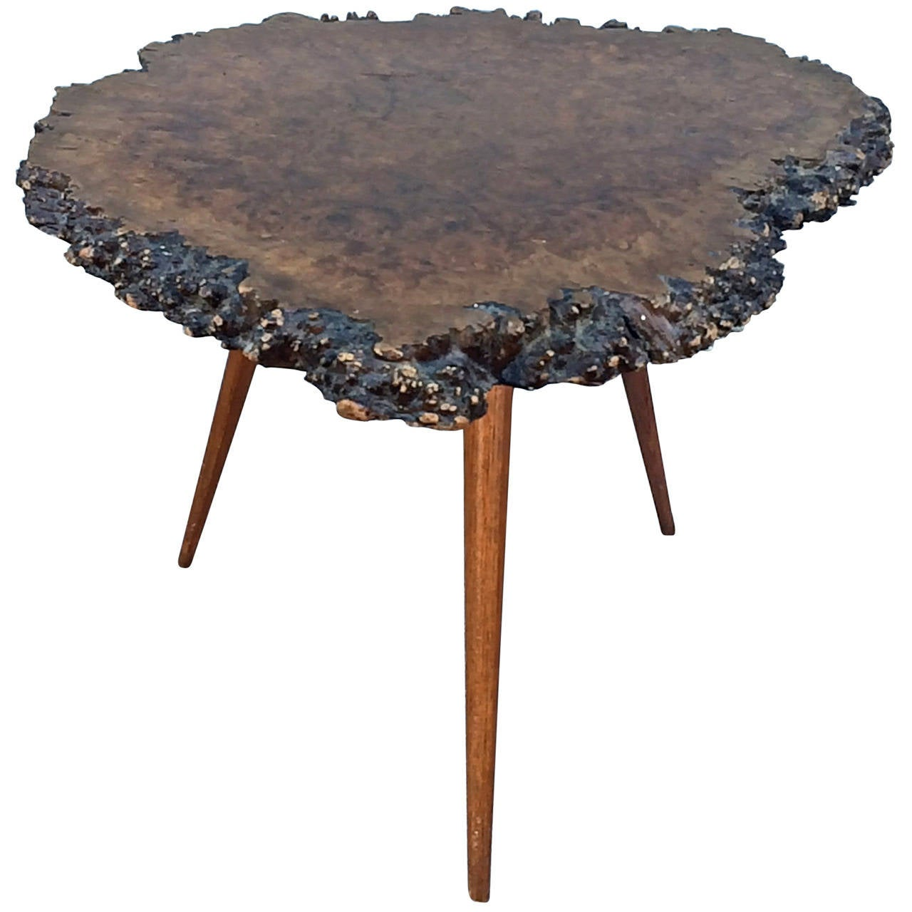 Redwood Coffee Table: Vintage Live Edge Redwood Side Table At 1stdibs