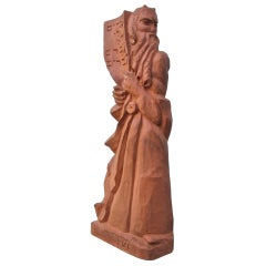 Rare Vintage WPA Style Sculpture of Moses With Horns
