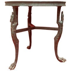 Bronze Art Deco Table with Greyhound Legs
