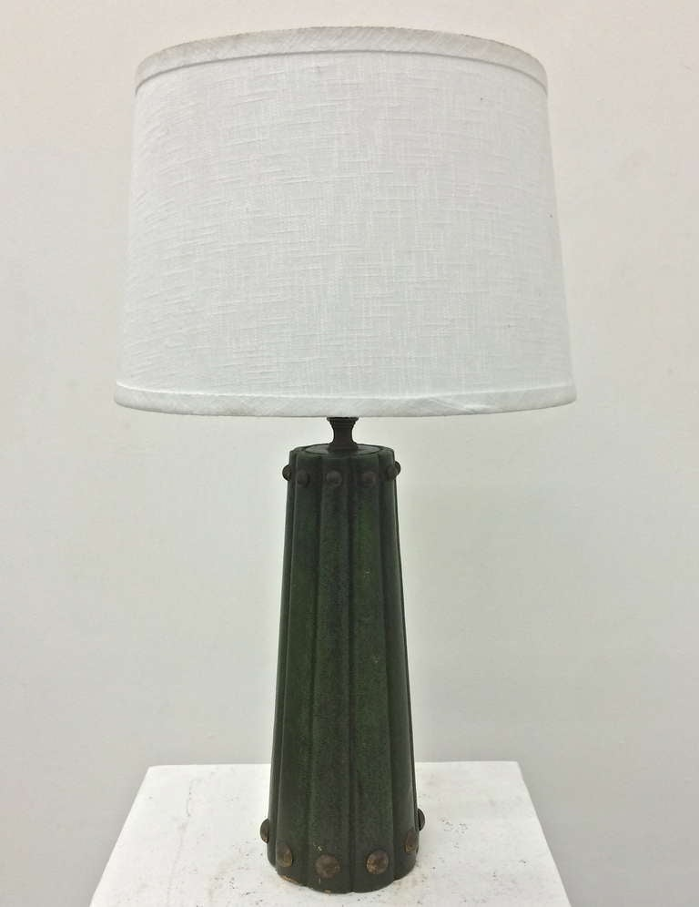 1940s brass studded leather wrapped table lamp in the style of tommi