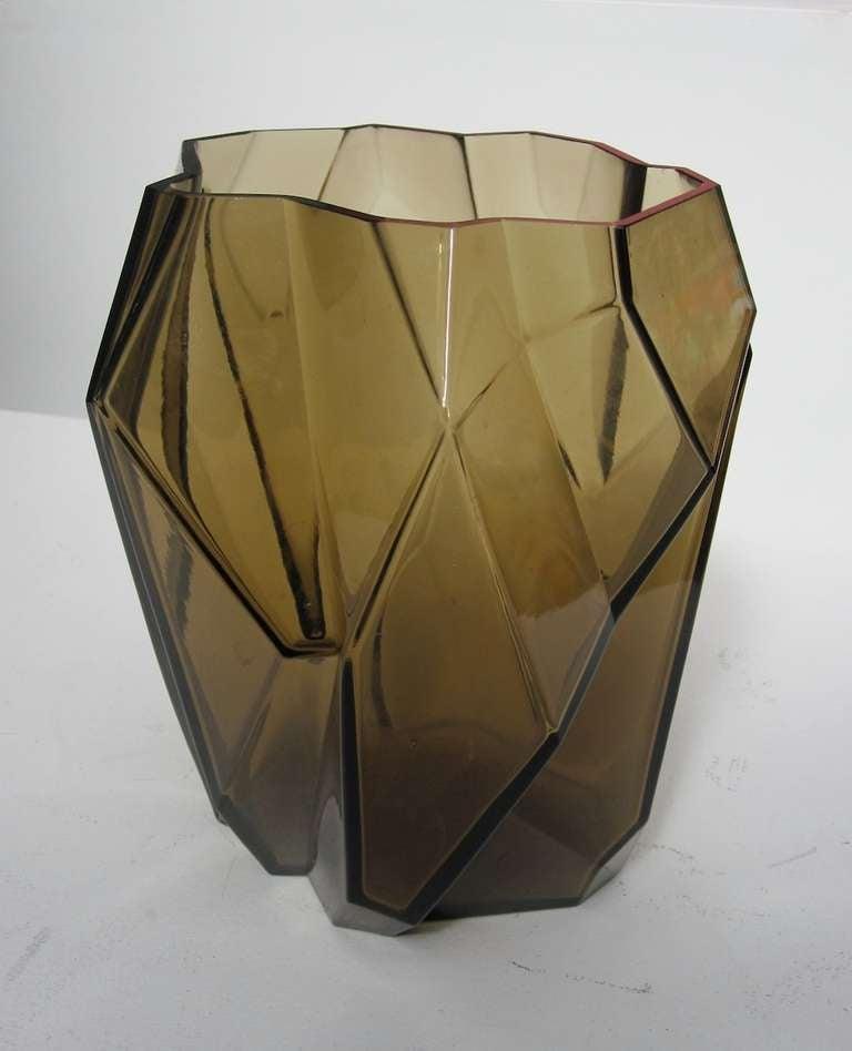 Moderne art deco cubist vase ruba rombic by consolidated - Moderne glasvasen ...