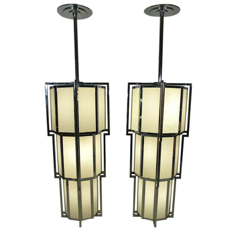 Monumental Post Modern Art Deco Inspired Chandeliers At