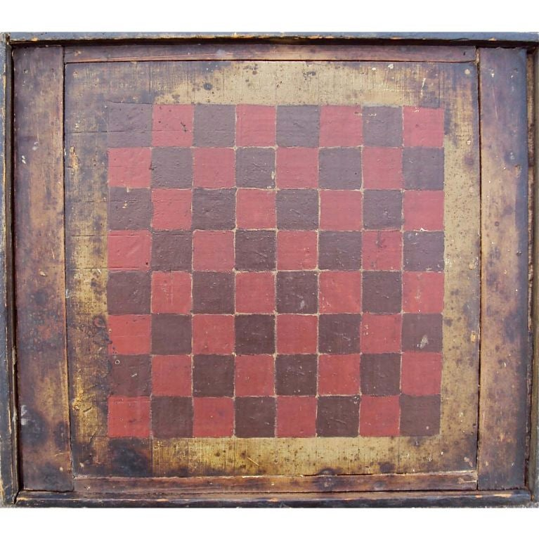 19th Century Hand Painted Checkerboard At 1stdibs