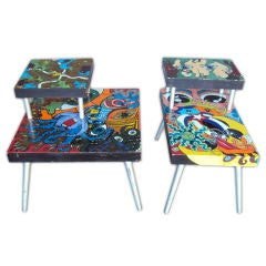 Funky pair of handmade painted tables