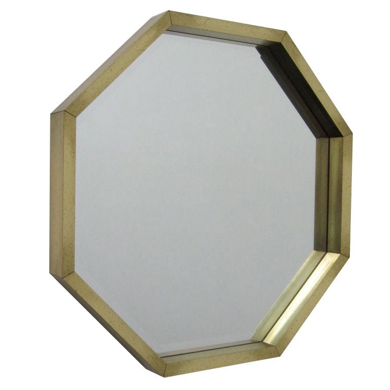 Chic 70s octagonal beveled glass mirror at 1stdibs for Octagon beveled mirror