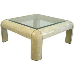 Maitland Smith Tessellated Stone Coffee Table With Brass Inlay