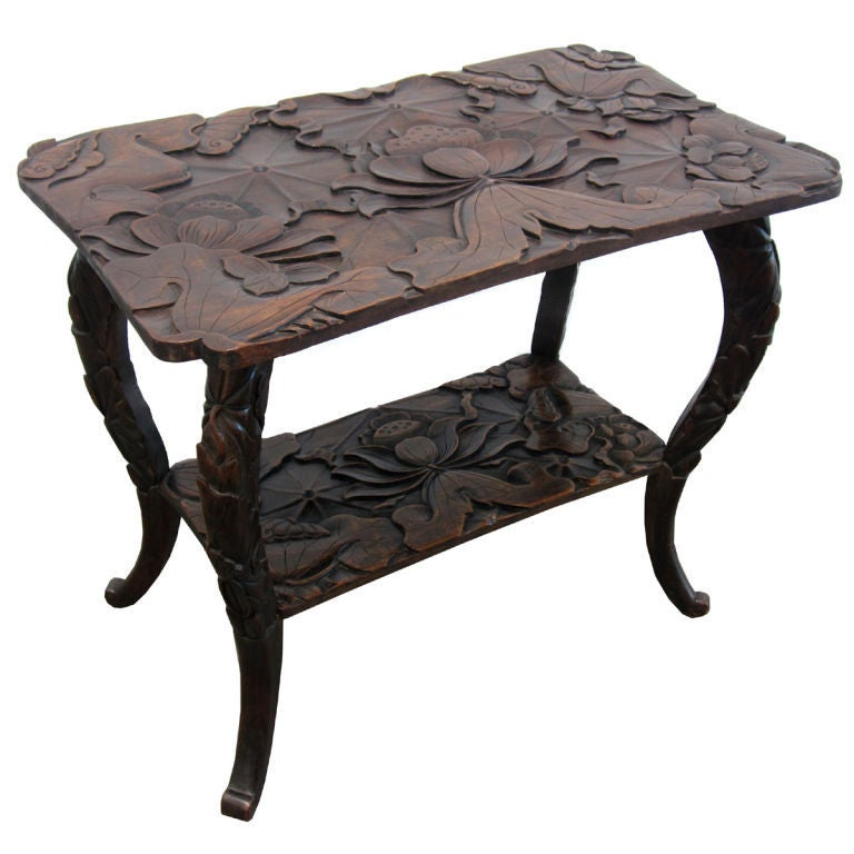 Carved Japanese Meji Period Export Table In The Art Nouveau Style At 1stdibs