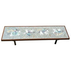 Vintage '50s Murano Glass Tile Table With Brass Legs