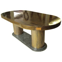 French Art Deco Dining Table, 1930s, Marble, Macassar Ebony