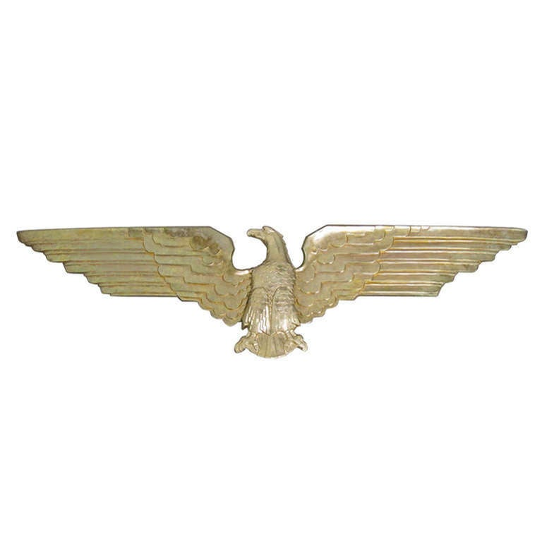 Art Deco Brass Plated American Eagle Architectural