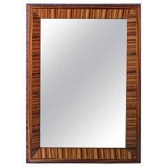 Art Deco Zebra Wood Mirror Circa 1940