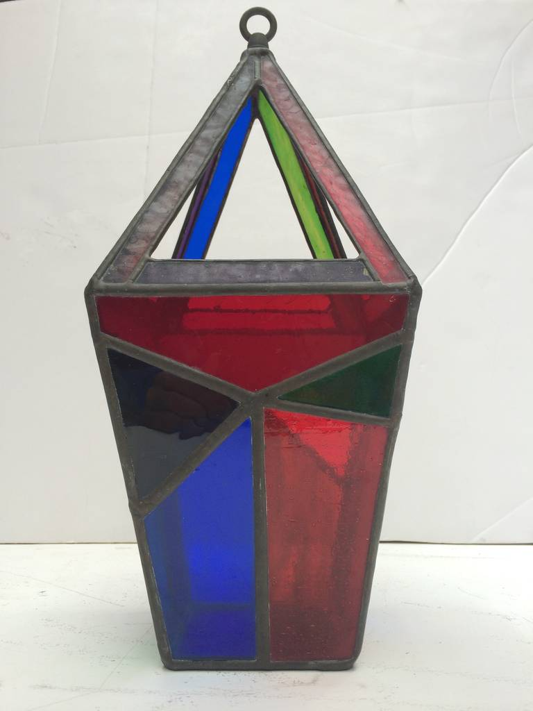 midcentury geometric stained glass hanging lamp at 1stdibs. Black Bedroom Furniture Sets. Home Design Ideas