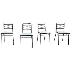 Set of Four Modernist Wrought Iron Chairs