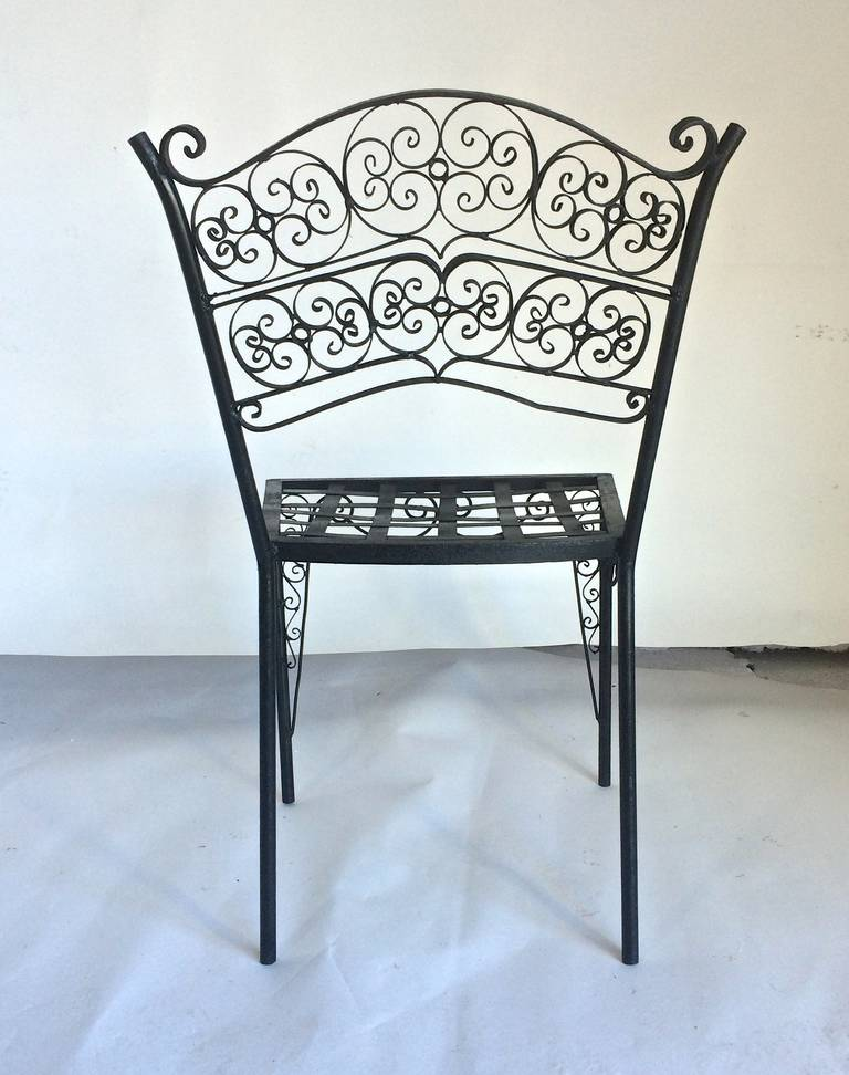 Ornate Set Of Six Metal French Art Deco Patio Chairs Circa 1930 At 1stdibs