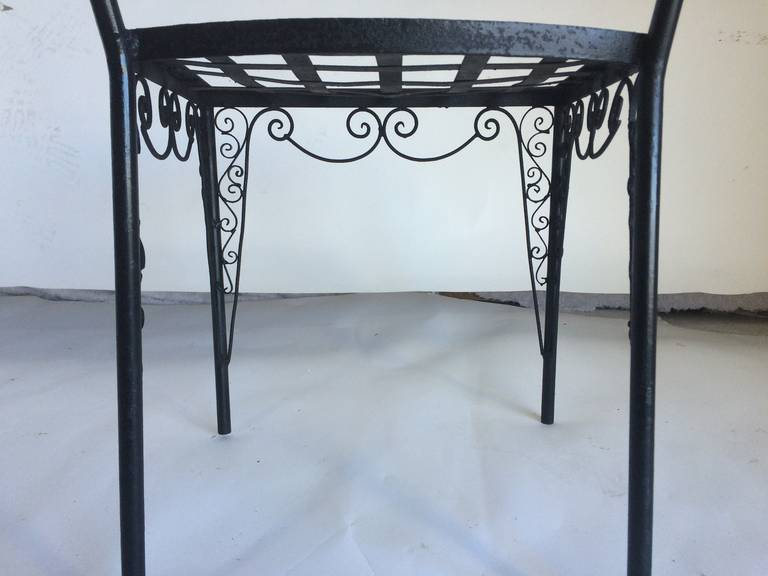 Ornate Set Of Six Metal French Art Deco Patio Chairs