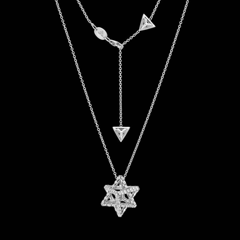 Star of David Merkaba Diamond Platinum Pendant Necklace 3